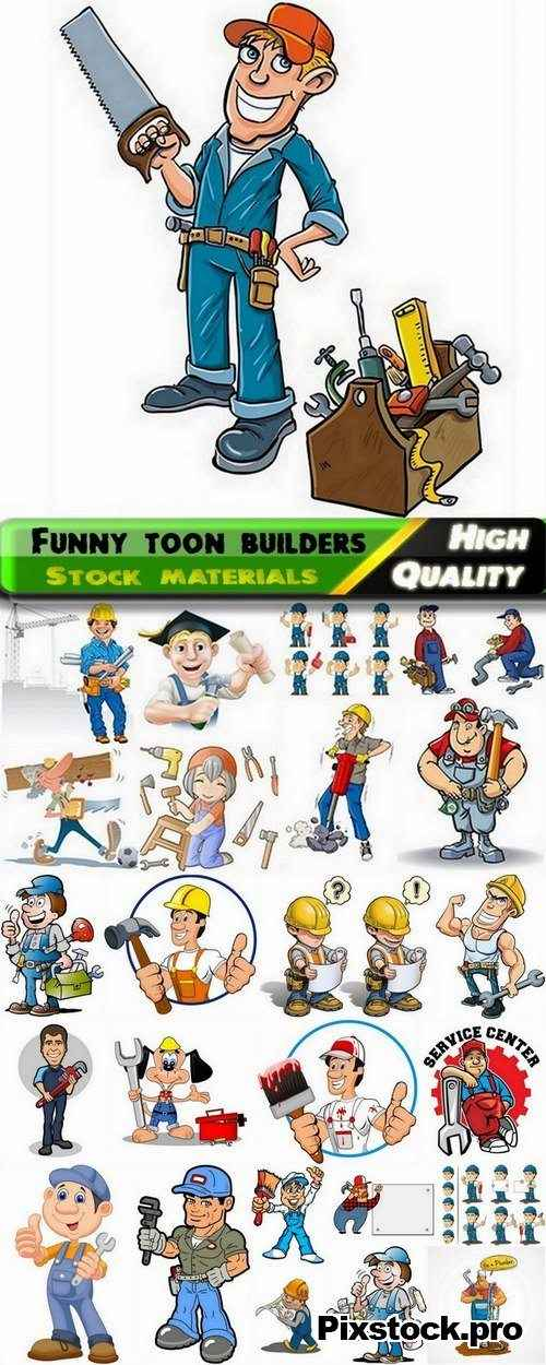 Funny toon builders in vector from stock – 25 Eps