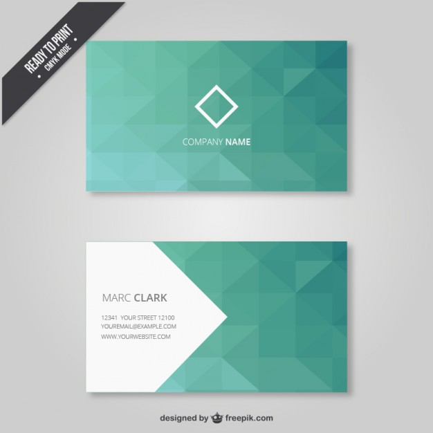 Geometrical business card in green tones  Vector | Free Download