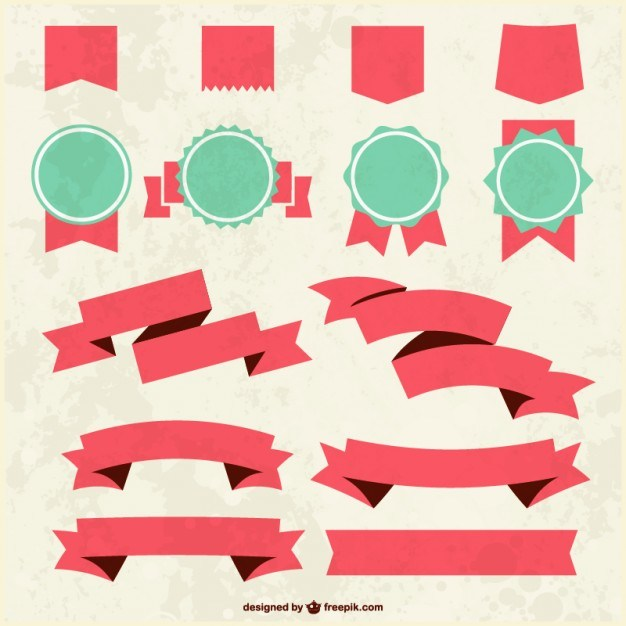 Grunge textured ribbons and badges   Vector | Free Download