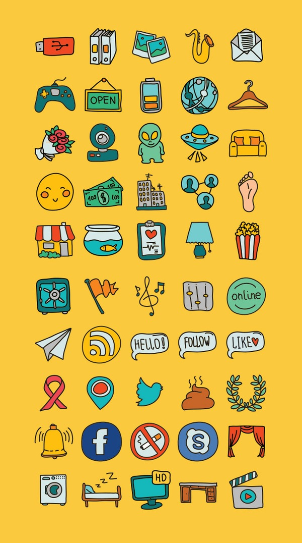 50 Hand Doodle Icons | GraphicBurger