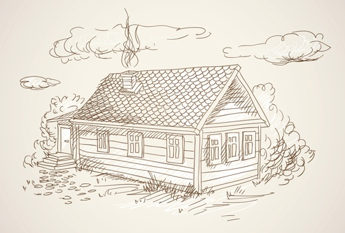 Hand drawn countryside landscapes vector 04