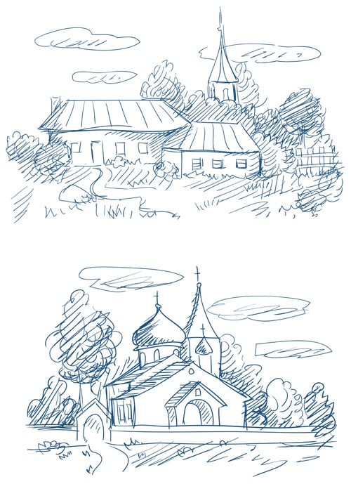 Hand drawn countryside landscapes vector 02