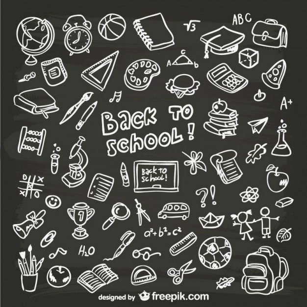 Hand-drawn school graphics   Vector | Free Download