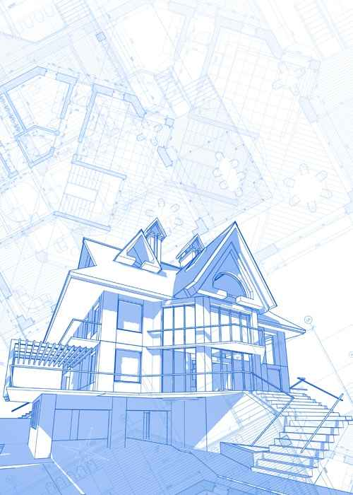 Architectural drawings a set of facades and building plans seamless house architecture blueprint vector set 07 malvernweather Choice Image