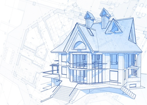 House architecture blueprint vector set 04