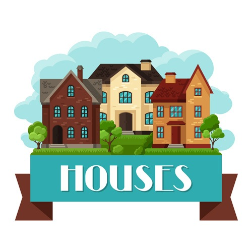 House flat style vector background 08