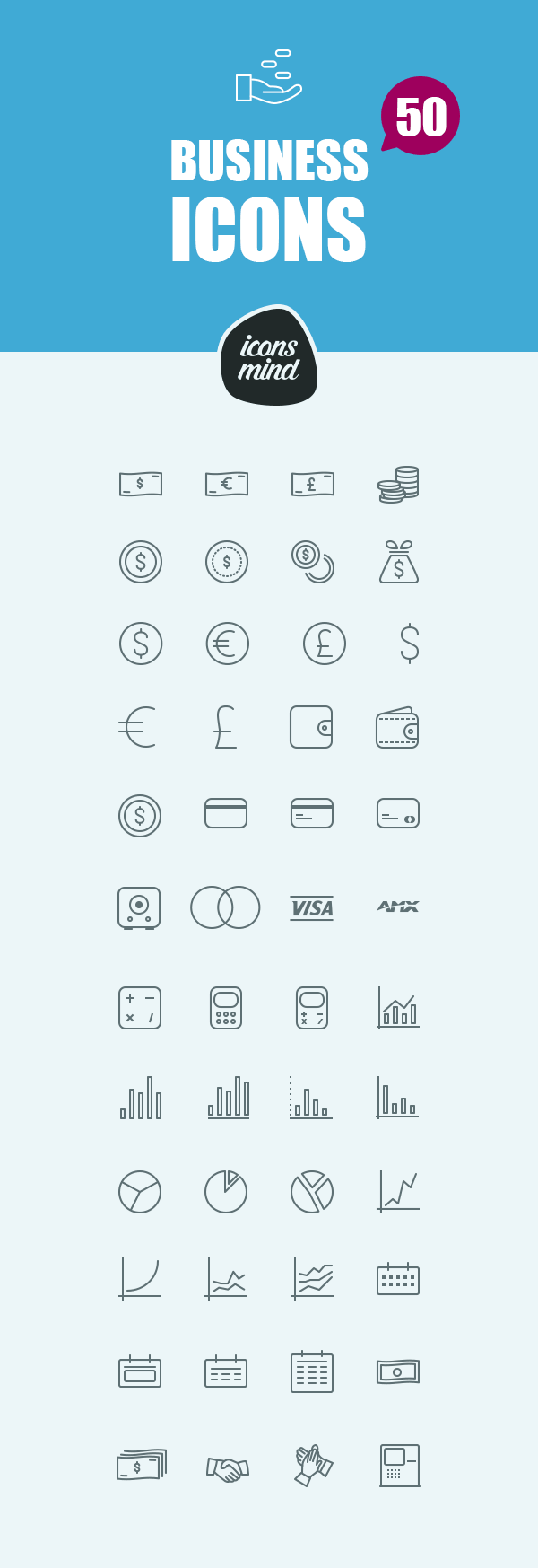 Icons Mind: 50 Business Icons | GraphicBurger