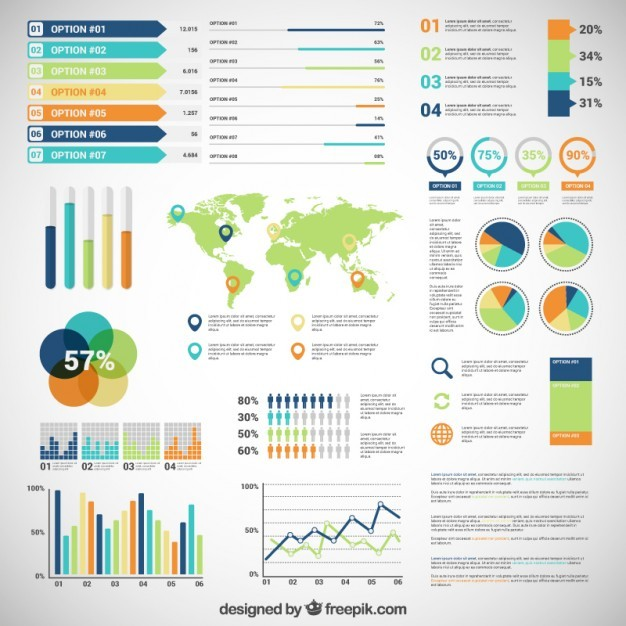 Infographic with variety of diagrams  Vector | Free Download