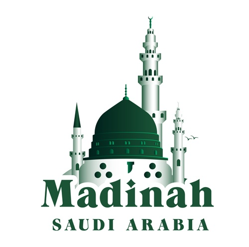 Madinah famous buildings vector 02