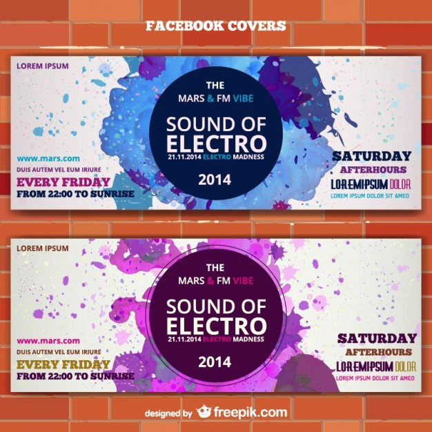 Mockup electro music banner ticket invitation  Vector | Free Download