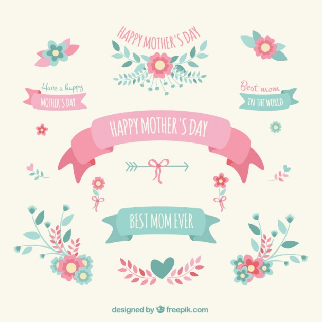 Mothers day decoration elements  Vector | Free Download
