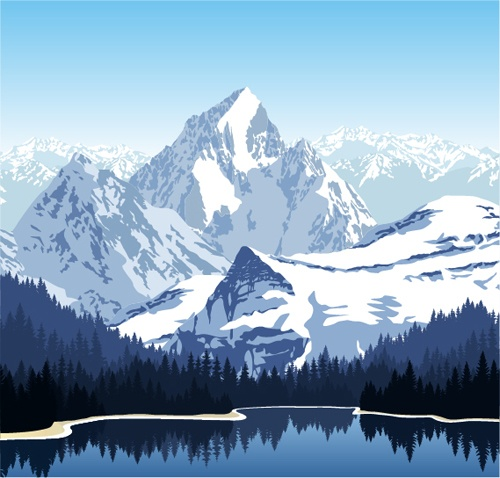 Mysterious snow mountain landscape vector graphics 07