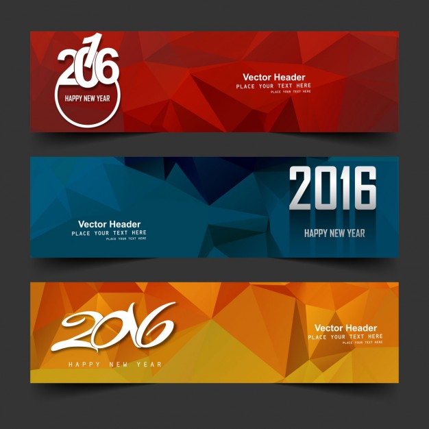 New year 2016 headers  Vector | Free Download