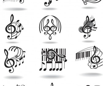 Notes, music staff and treble clef vector free download