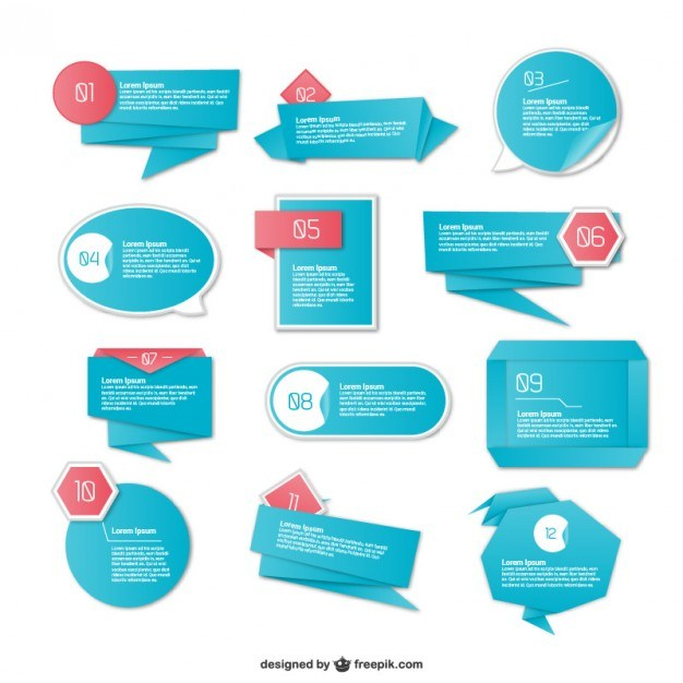 Origami bue infography elements  Vector | Free Download
