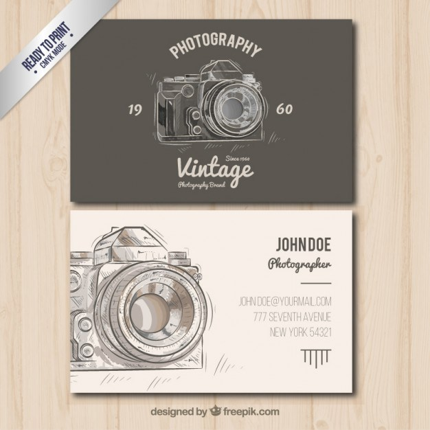 Photographer business card in vintage style  Vector | Free Download