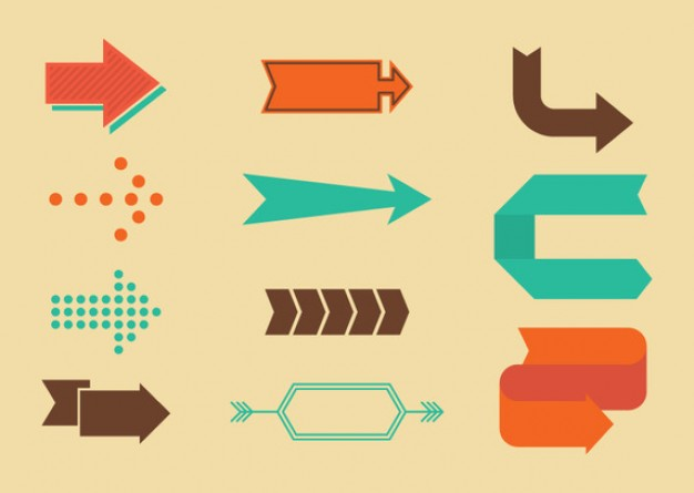 Retro Directional Arrow Signs Vector