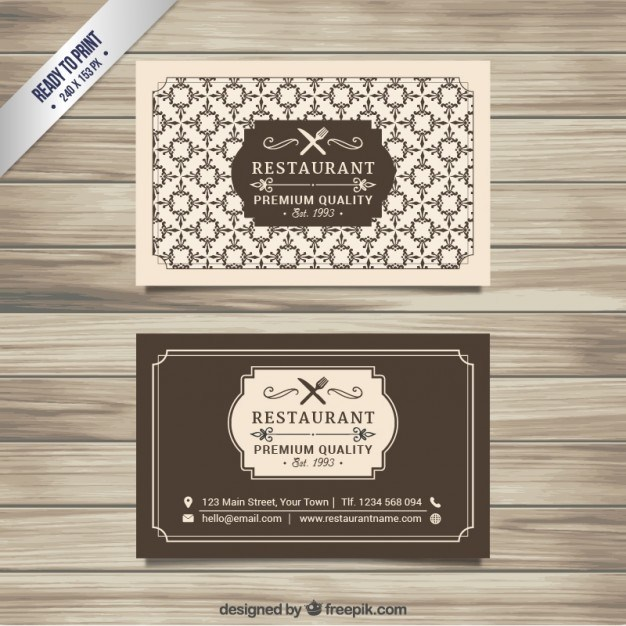 Retro restaurant card  Vector | Free Download