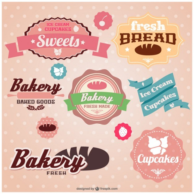 Retro set of bakery stickers   Vector | Free Download