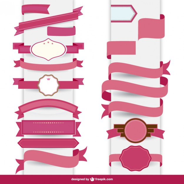 Ribbon pink decorative template   Vector | Free Download