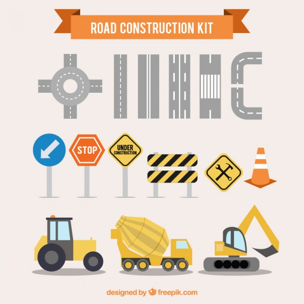 Road construction kit  Vector | Free Download