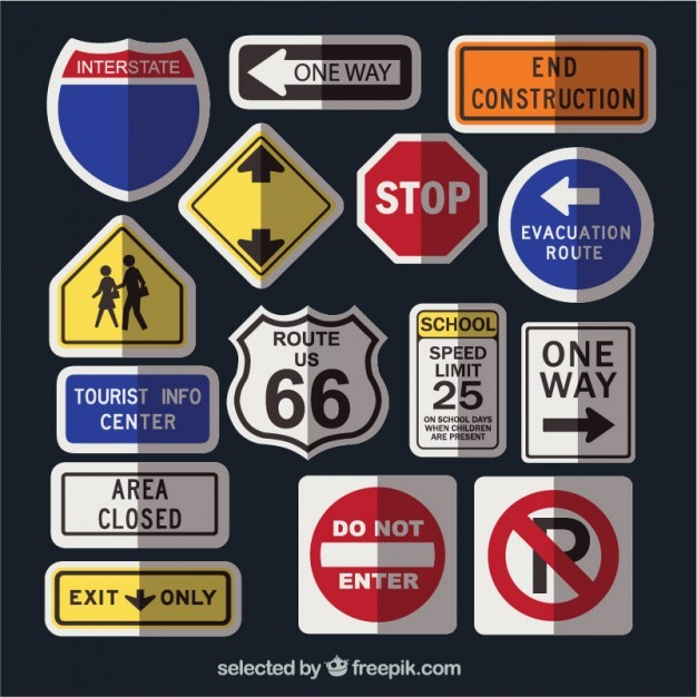 Road signs collection  Vector | Free Download
