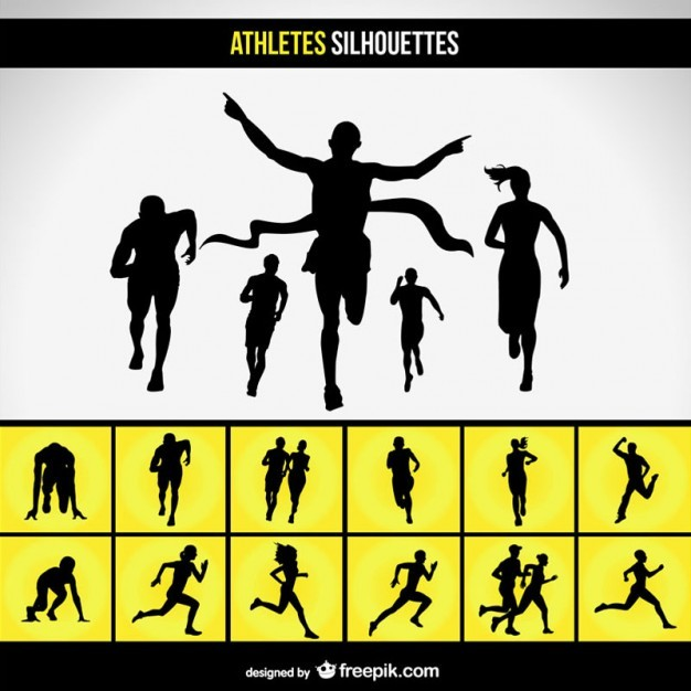 Running race silhouette set  Vector | Free Download