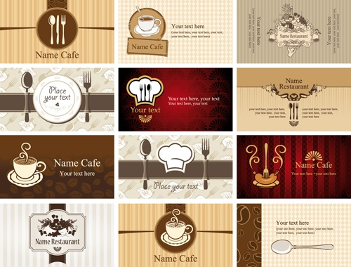 Set of Restaurant & Cafe cards vectot 01