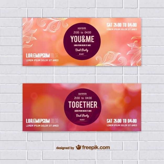 Set of warm colors vector banners  Vector   Free Download