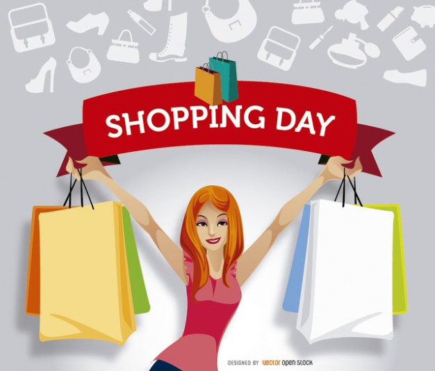 Shopping day woman character