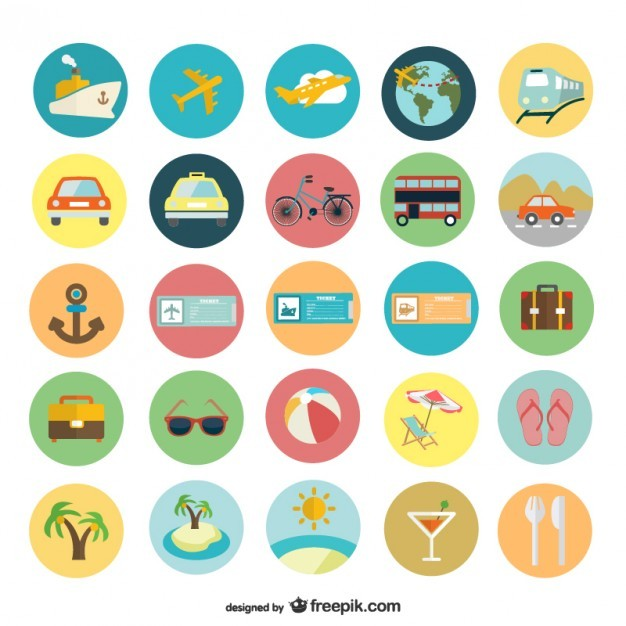 Summer holiday flat icons  Vector | Free Download