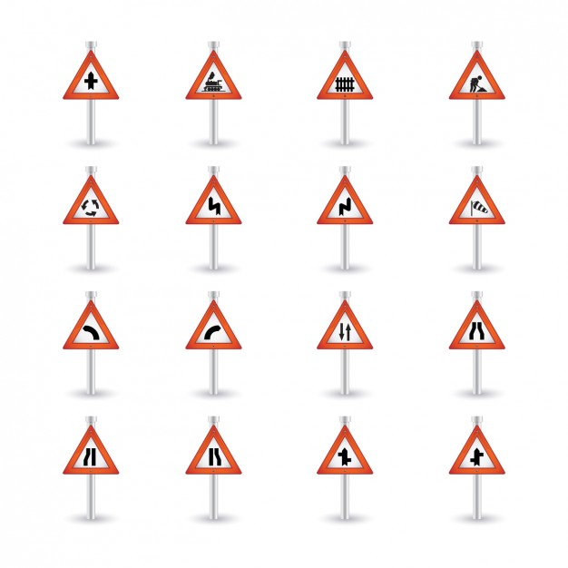 Triangular Warning Road Sign Collection  Vector | Free Download