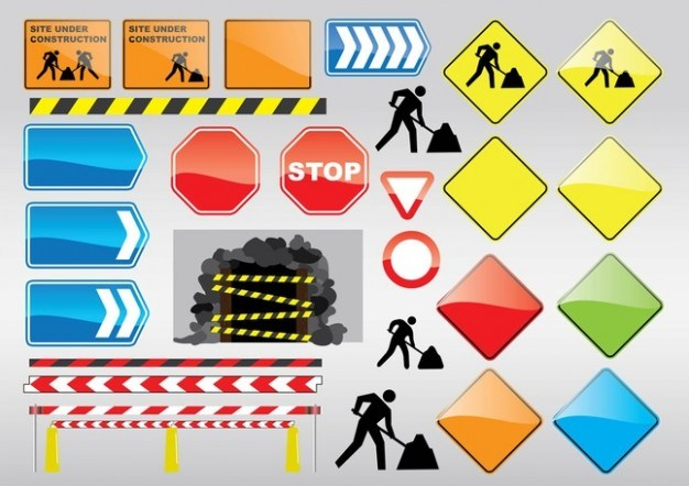 Under construction colorful signs  Vector | Free Download