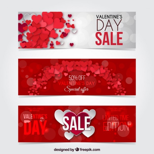 Valentine day discount banners pack Vector | Free Download