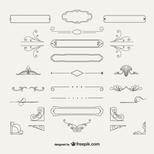 Variety of ornamental decorations  Vector | Free Download