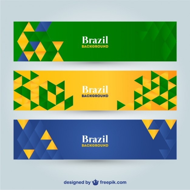 Vector geometric Brazil banners   Vector | Free Download
