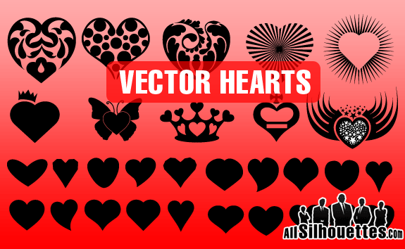 Vector Hearts Shapes – All-Silhouettes