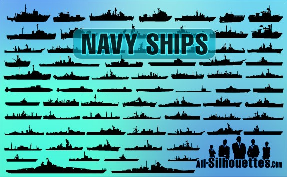Vector Navy Ships – All-Silhouettes