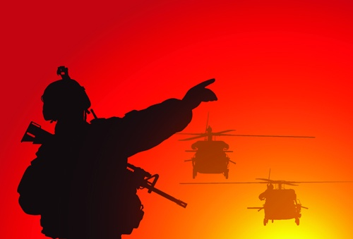 Vector soldiers silhouetter set 09
