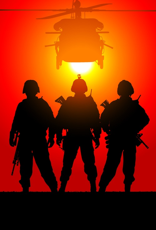 Vector soldiers silhouetter set 07