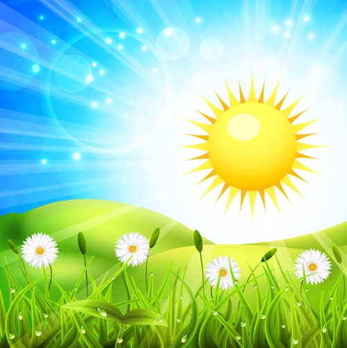 Vibrant spring elements vector background art 03