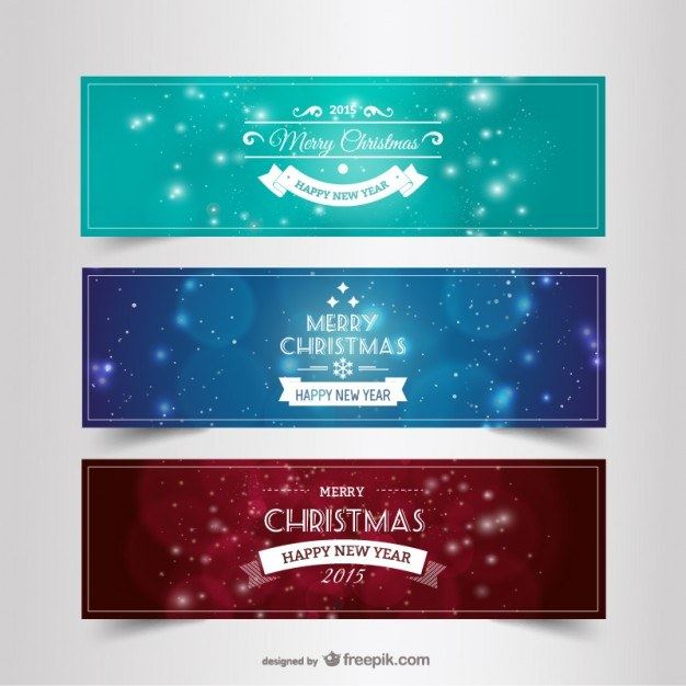 Vintage Christmas and New Year banners Vector | Free Download