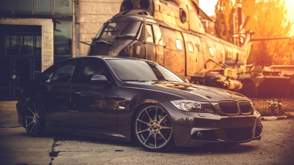 Wallpaper Bmw, E90, Deep concave, Black, Helicopter HD