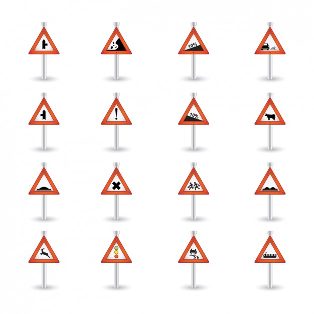 Warning Road Sings Collection  Vector | Free Download