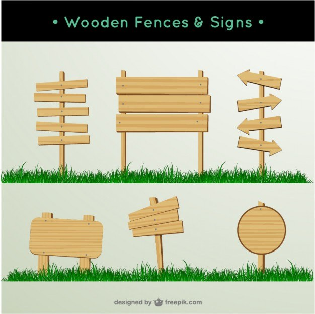 Wooden fences and signs  Vector   Free Download