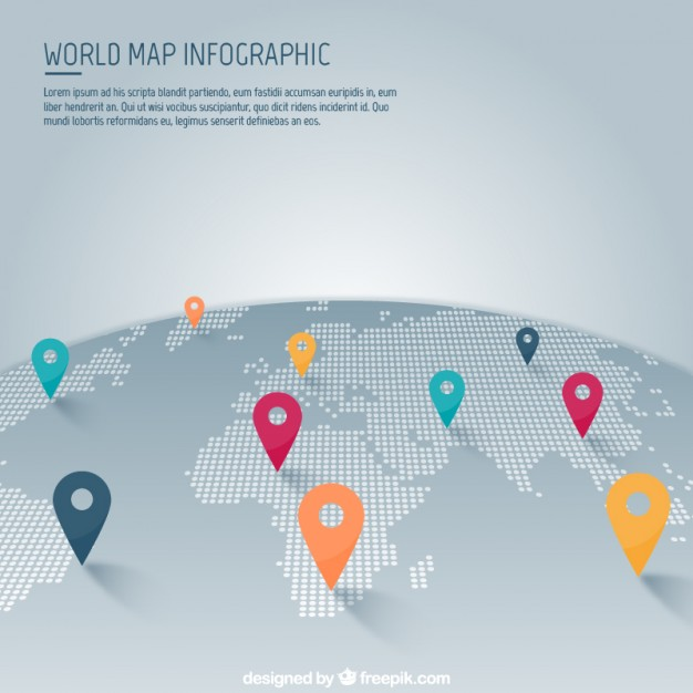 World map with pointer infographic  Vector | Free Download