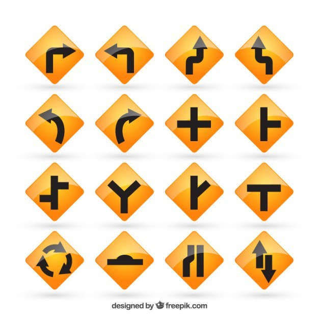 Yellow road signs  Vector | Free Download
