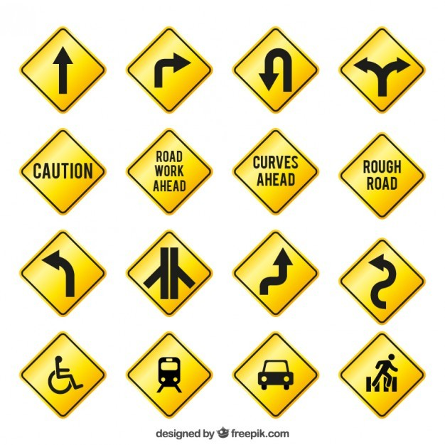 Yellow traffic signs  Vector | Free Download