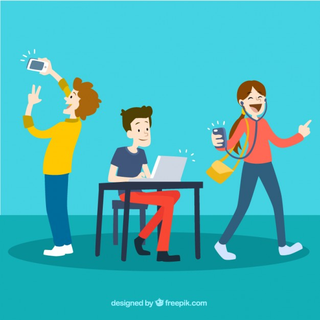 Young people using technology