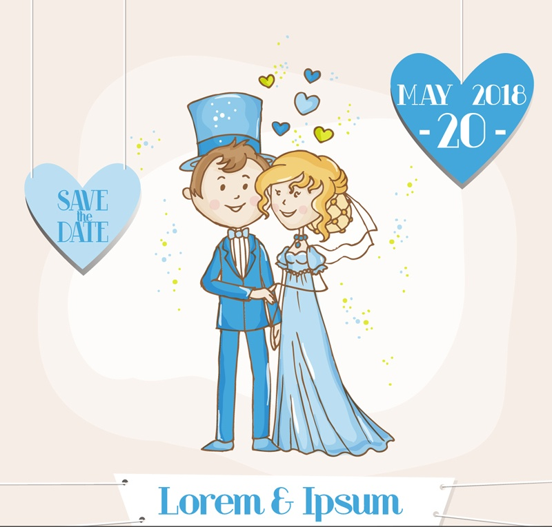 Blue cartoon bride and groom vector character vector material